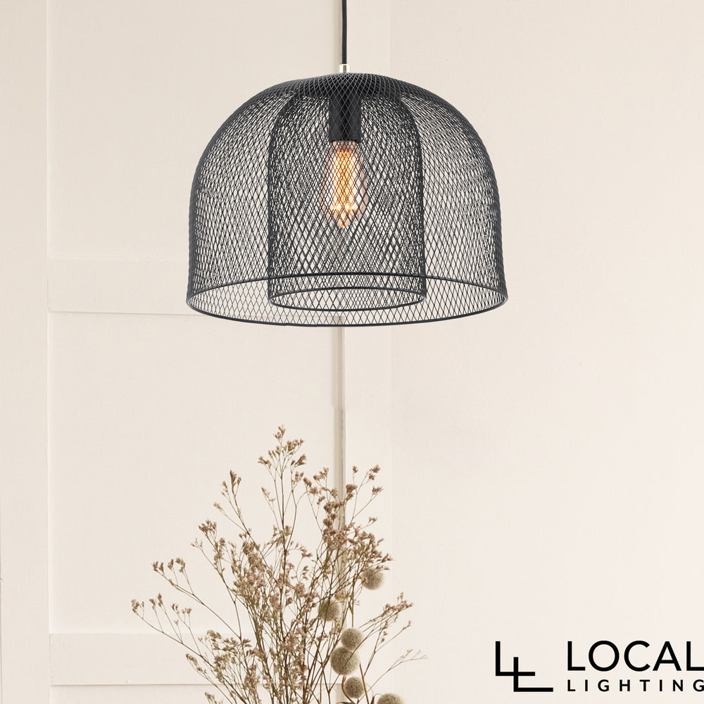 Milford Two-Tier Modern Wire Matt Black Pendant
