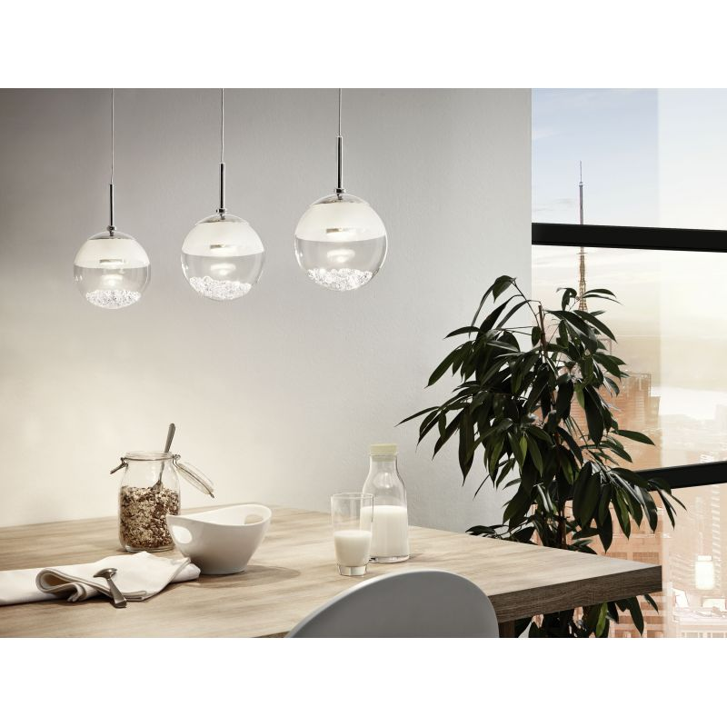 Montefio 1 3 Light Bar Crystal and Glass Sphere Pendant