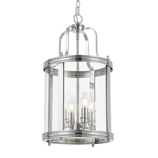 Newark 4 Light Chrome Cylinder Hampton Style Pendant