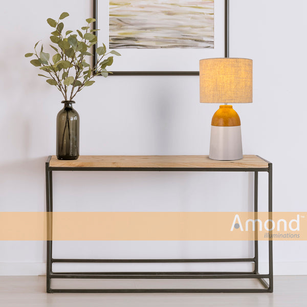 Nia Two-tone Timber and White Table Lamp by Amond