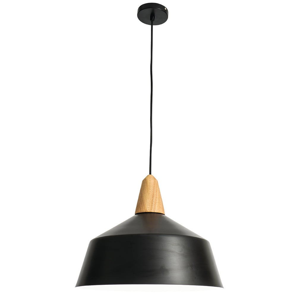 Noel Matt Black Metal and Natural Timber Large Pendant