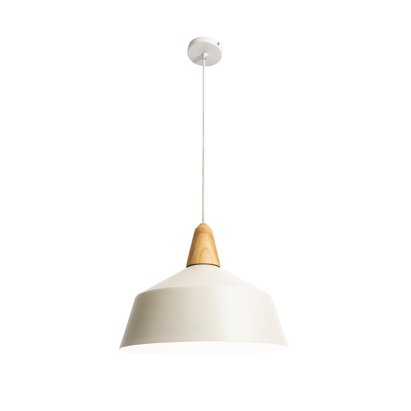 Noel Matt White Metal and Natural Timber Large Pendant