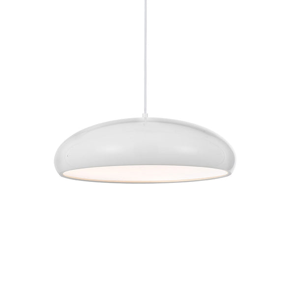 Orlo 45cm White Wide and Low Dome Pendant