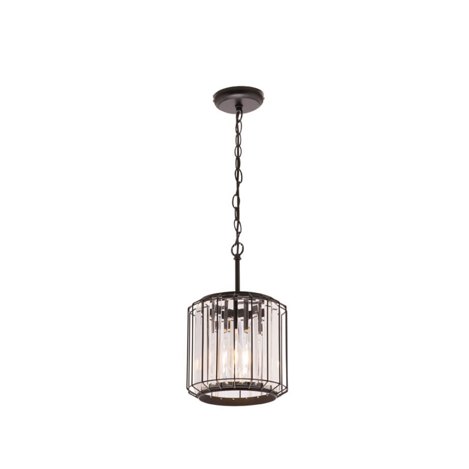 Olympia 1 light pendant crystal with matt black frame - CE4124