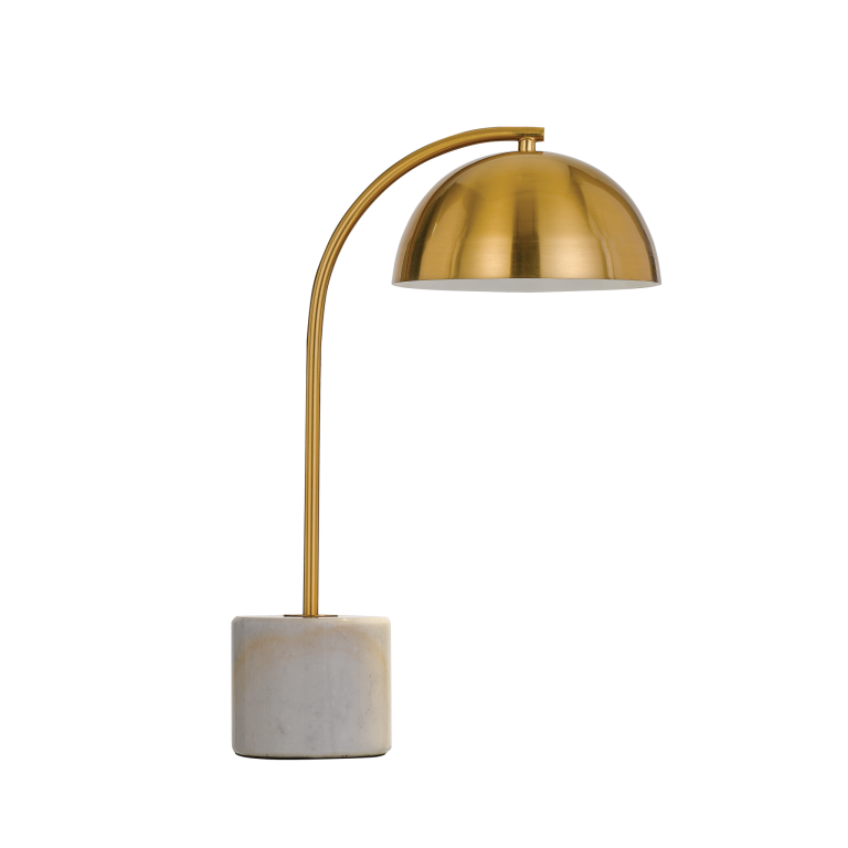 Ortez White and Antique Gold Table Lamp