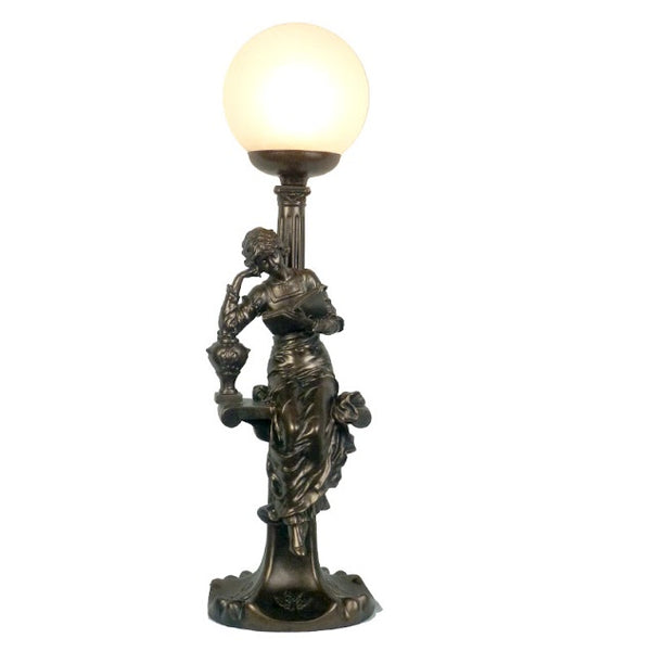 Lady on Bench Art Deco TableLamp