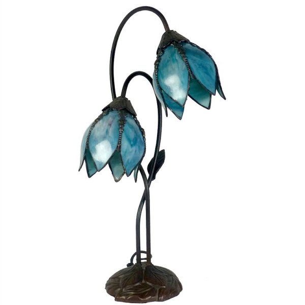 Gentiana Twin Teal Table Lamp