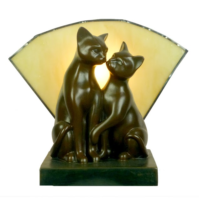 Twin Brown Deco Cats with Amber Tiffany Fan Glass.