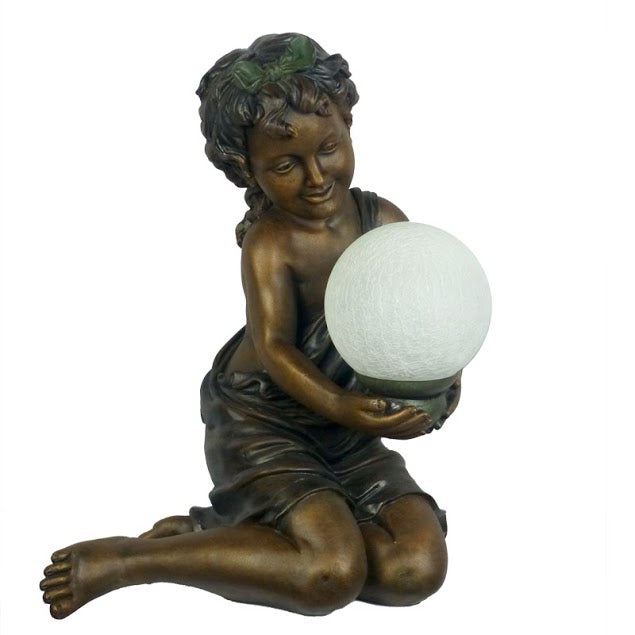 Sweet Girl Holding Ball Art Deco Table Lamp
