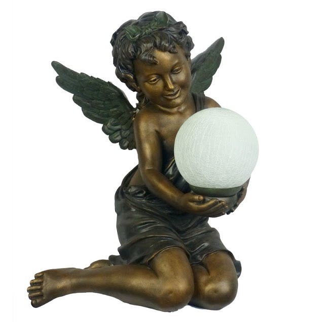Cherub Girl with Wings Holding Ball Art Deco Table Lamp