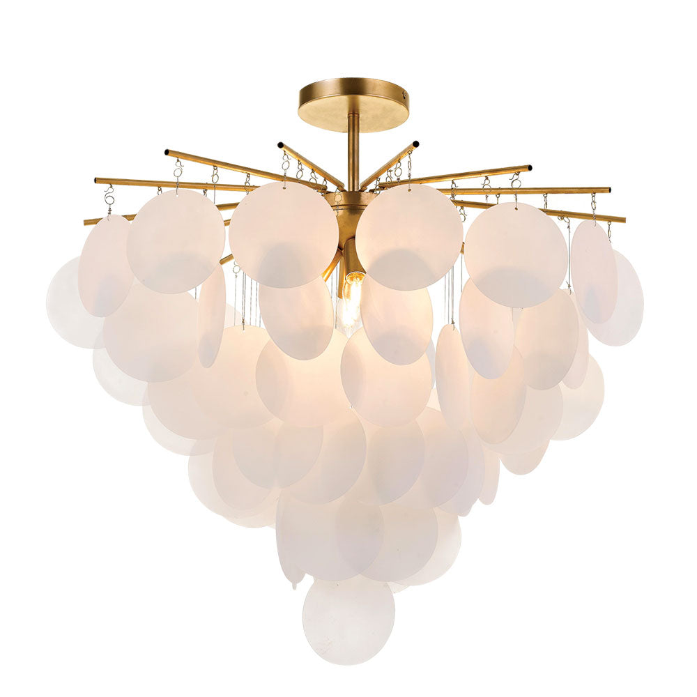 Papino Gold with Frost White Disc Ceiling Mount Pendant