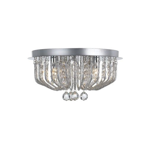 Pintor 5 Light Crystal and Spiral Metal Close to Ceiling