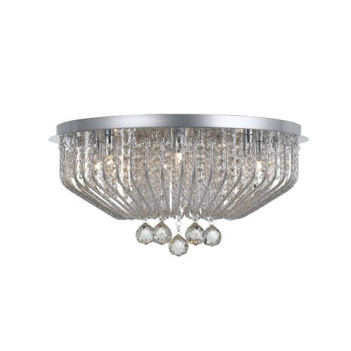 Pintor 9 Light Crystal and Spiral Metal Close to Ceiling