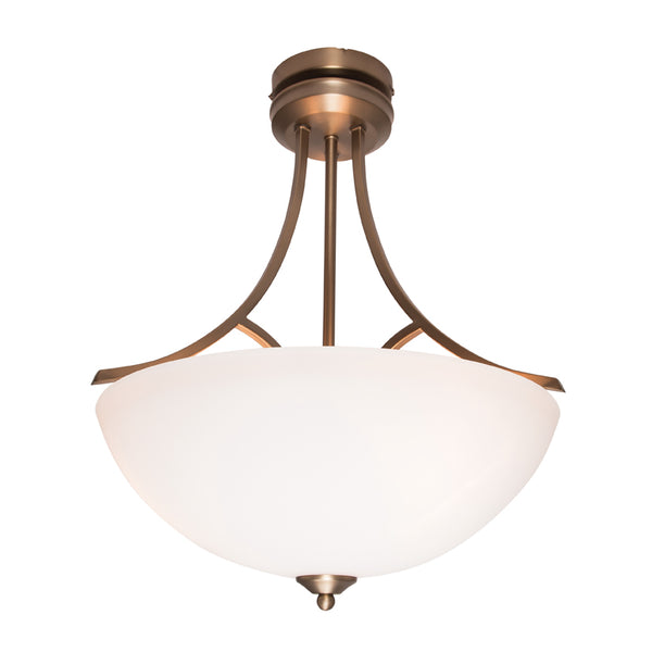 Atlanta 3 Light Traditional Aged Brass Pendant or Close to Ceiling