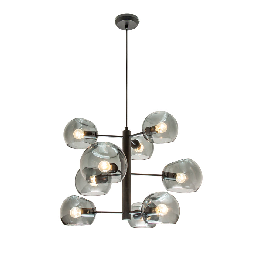 Milan Smoke Dimple Glass with Black 9 Light Pendant