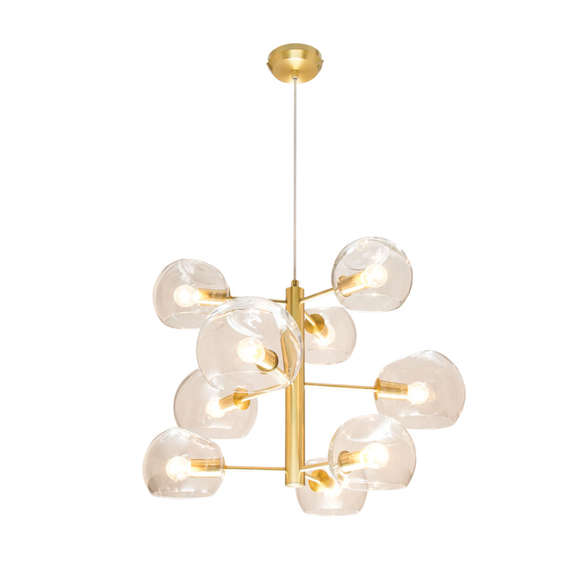 Milan Clear Dimple Glass with Brushed Brass 9 Light Pendant