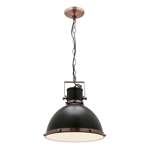 Tonic Matt Black and Antique Copper Small Industrial Pendant