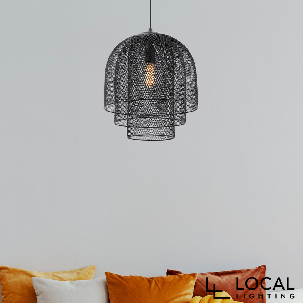 Picton Three-Tier Modern Wire Matt Black Pendant