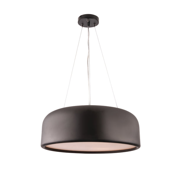 Porto Large Black Cylindrical Metal Pendant