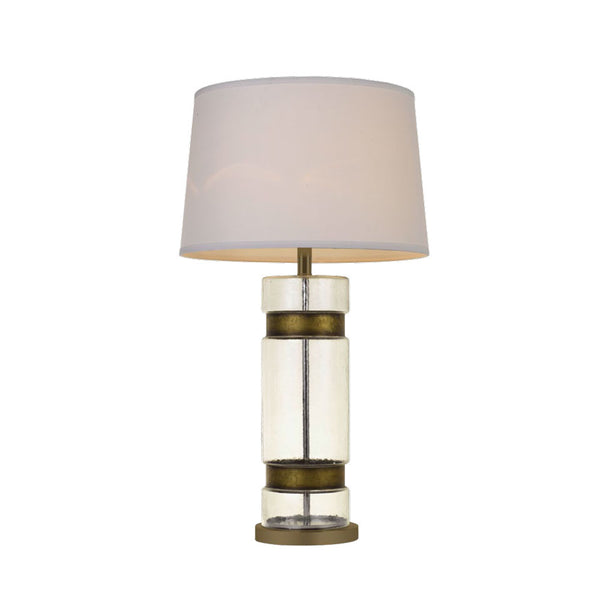 Risig Glass and Brass Barrel Table Lamp