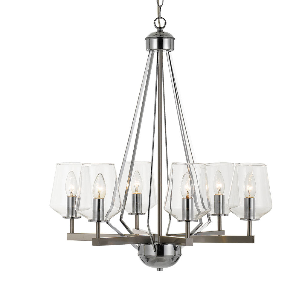 Risley 6 Light Nickel and Clear Glass Candle Tree Pendant