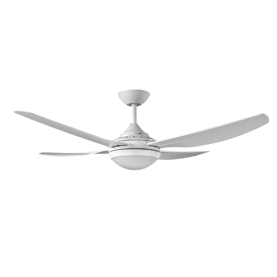 Royale II 1320mm White ABS Plastic Contoured 4 Blade Ceiling Fan with Light By Ventair