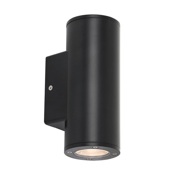 Rvin Black Cylinder LED Pillar Up/Down Wall Exterior