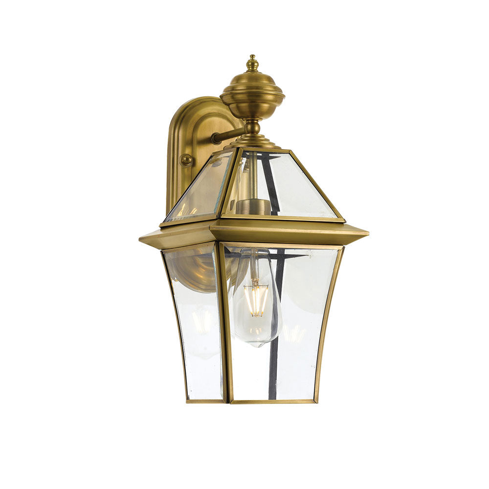 Rye 20cm Brass Tapered and Glass Panel Lantern Coach Light