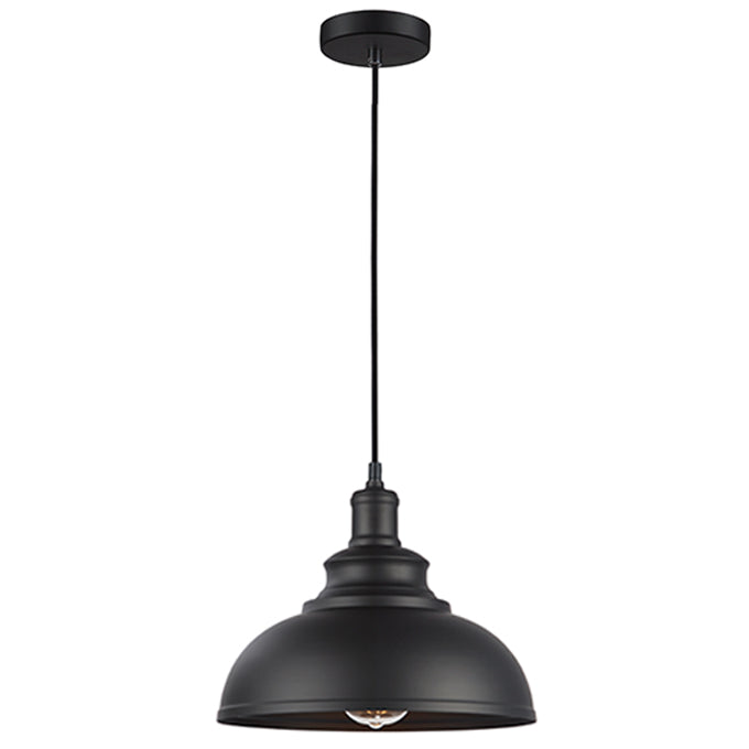 Ray 290 Black Industrial Metal Dome Pendant by Amond