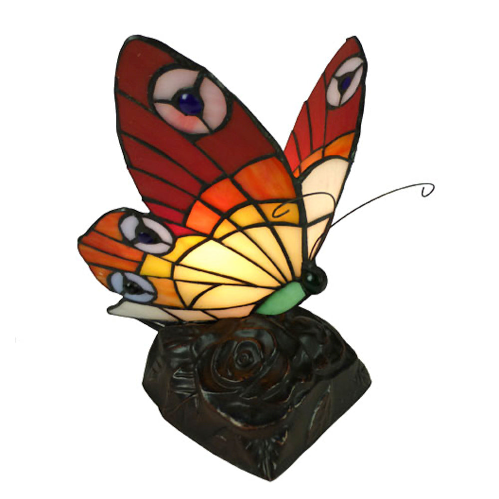 Butterfly Red ans Beige on a brown base with rose detail.