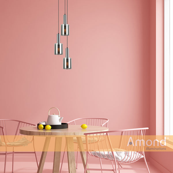 Rory Smoke Glass Cylinder and Chrome Pendant by Amond
