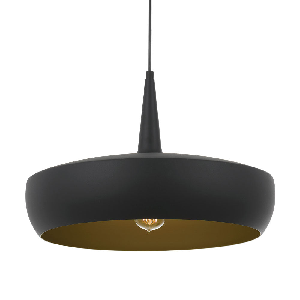 Sabra 45cm Black/Gold Wide Brim Metal Cone Pendant
