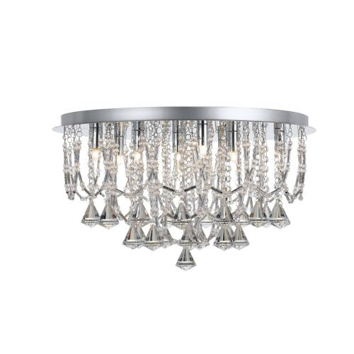 Sandro 9 Light Crystal Prism Drape Close to Ceiling