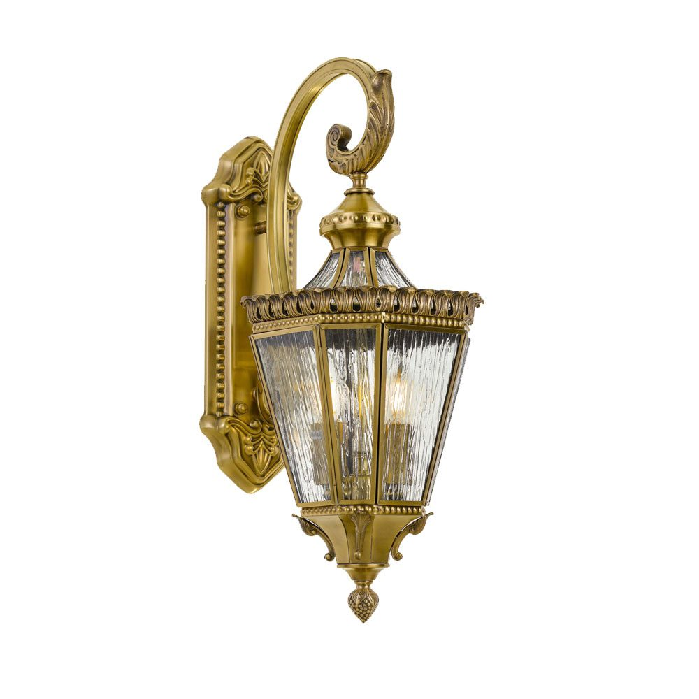 Scroll 25cm Solid Brass Tapered Lantern Coach Light