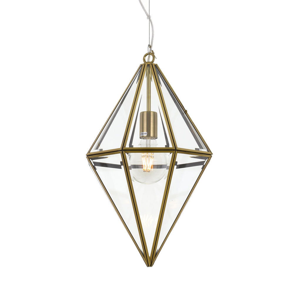 Silva 30cm Antique Brass Frame and Glass Panel Prism Pendant