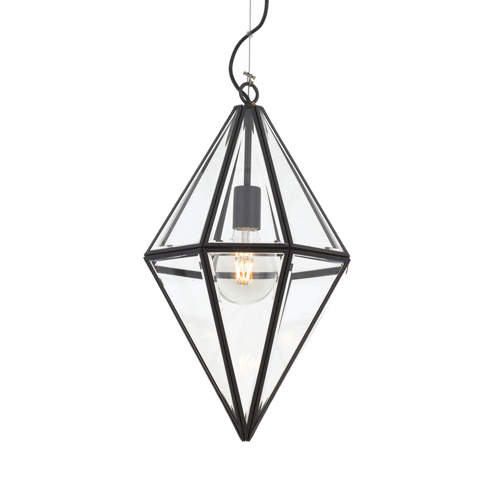 Silva 30cm Black Frame and Glass Panel Prism Pendant