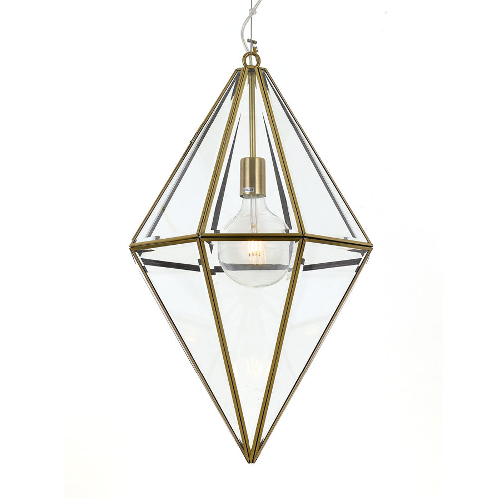 Silva 40cm Antique Brass Frame and Glass Panel Prism Pendant