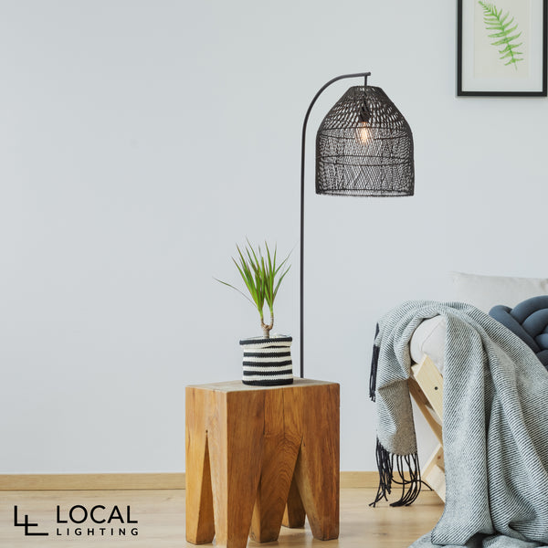 Sawyer Black rattan Modern Floor Lamp