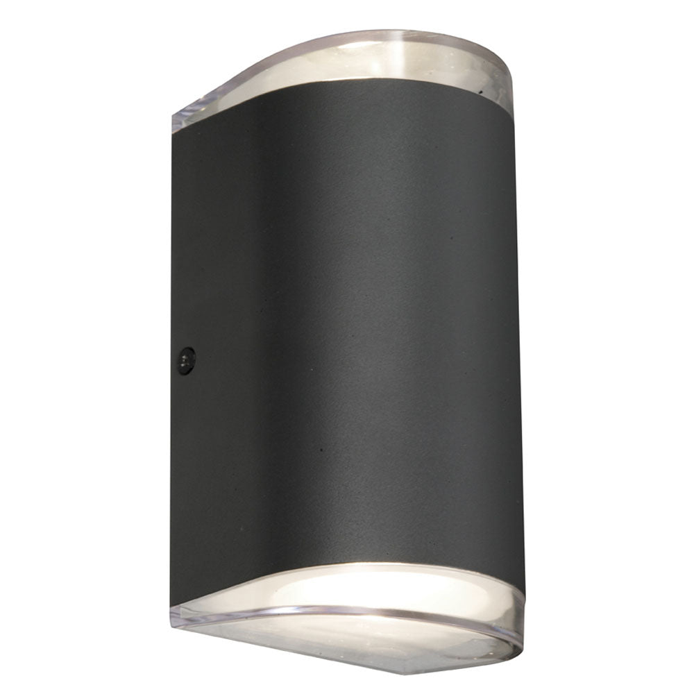 Sherlock Round Black LED Up/Down Pillar Wall Exterior Light