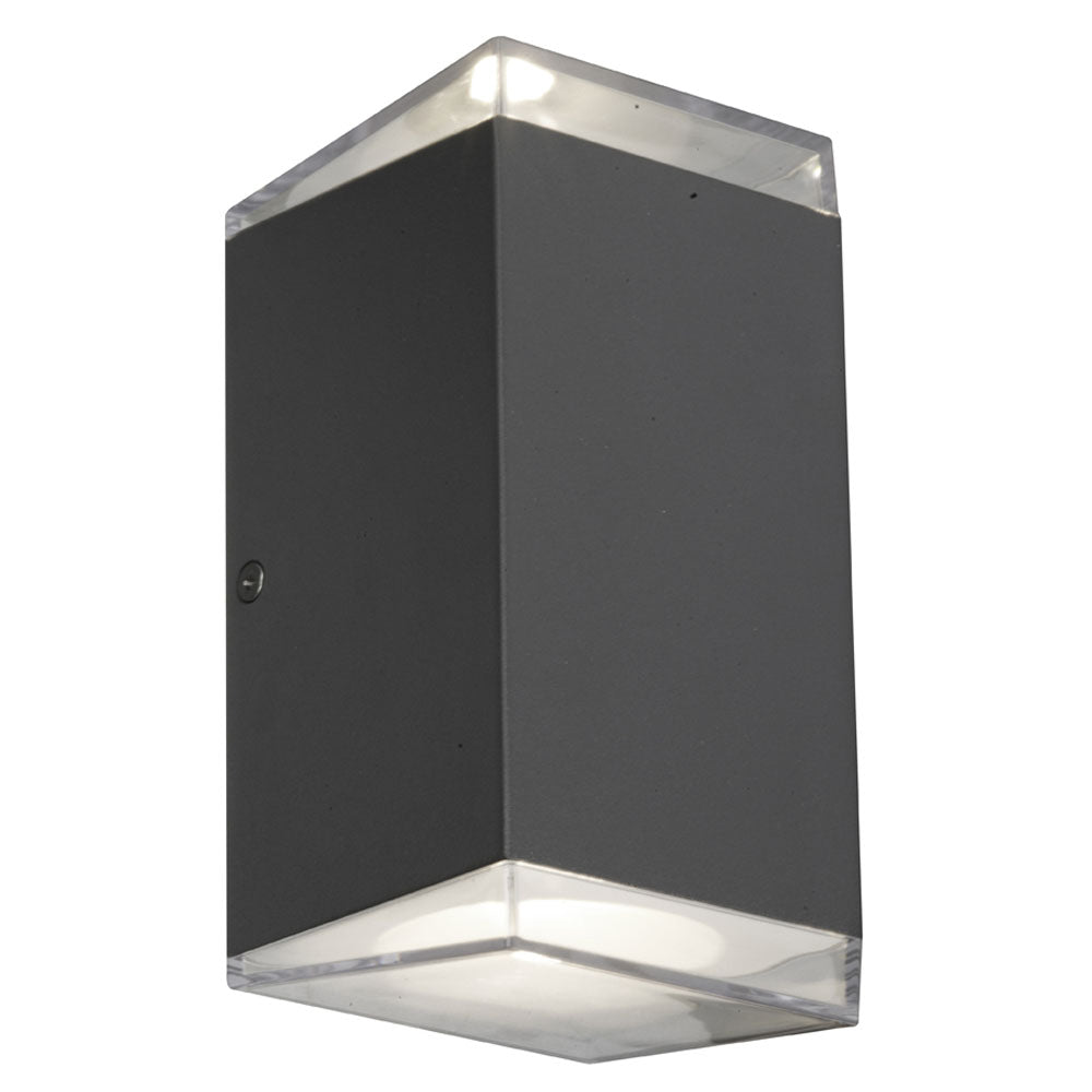 Sherlock Square Black LED Up/Down Pillar Wall Exterior Light