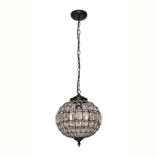 Stella 1 Light Crystal and Matt Black Ball Chandelier Pendant