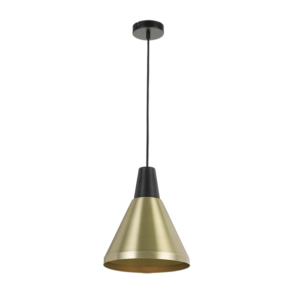 Temo 25cm Brass with Black Top Metal Cone Pendant