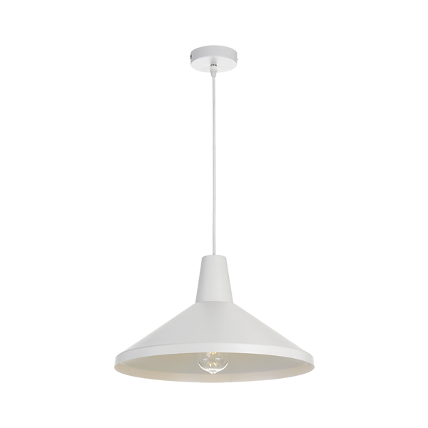 Temo 40cm White with White Top Metal Cone Pendant