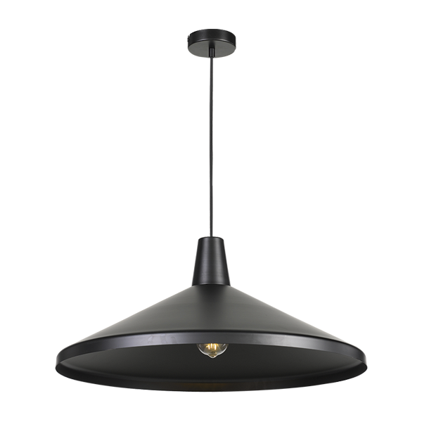Temo 60cm Black with Black Top Wide Brim Metal Cone Pendant