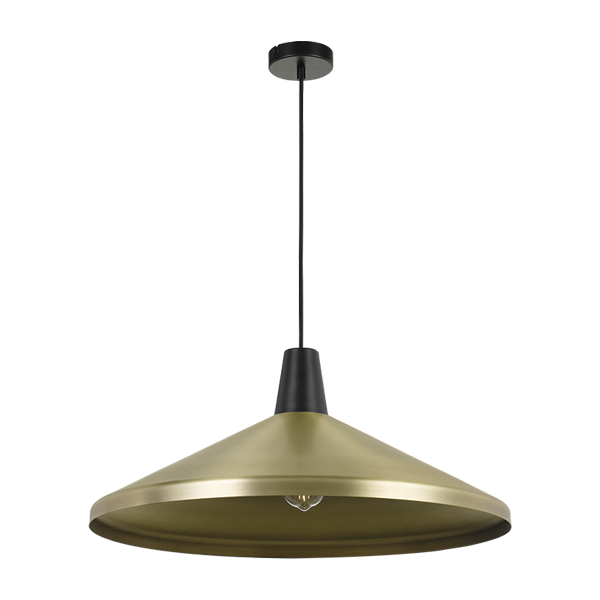 Temo 60cm Brass with Black Top Wide Brim Metal Cone Pendant