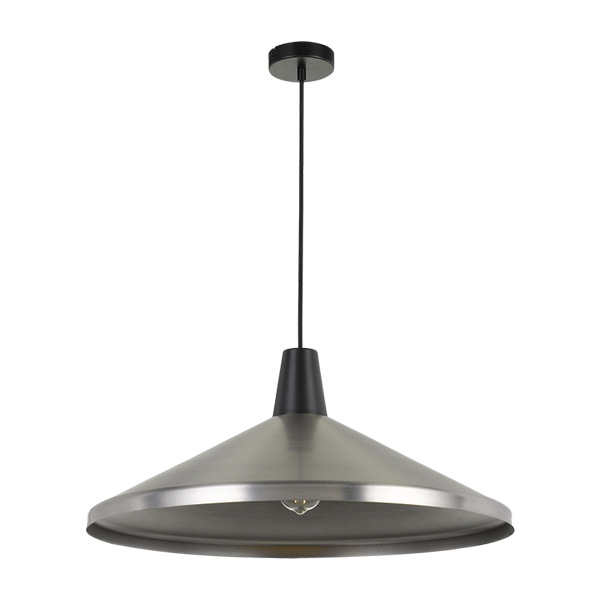 Temo 60cm Nickel with Black Top Wide Brim Metal Cone Pendant