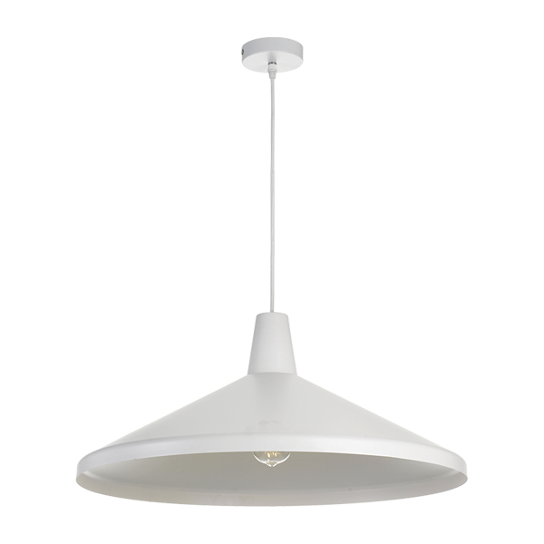Temo 60cm White with White Top Wide Brim Metal Cone Pendant