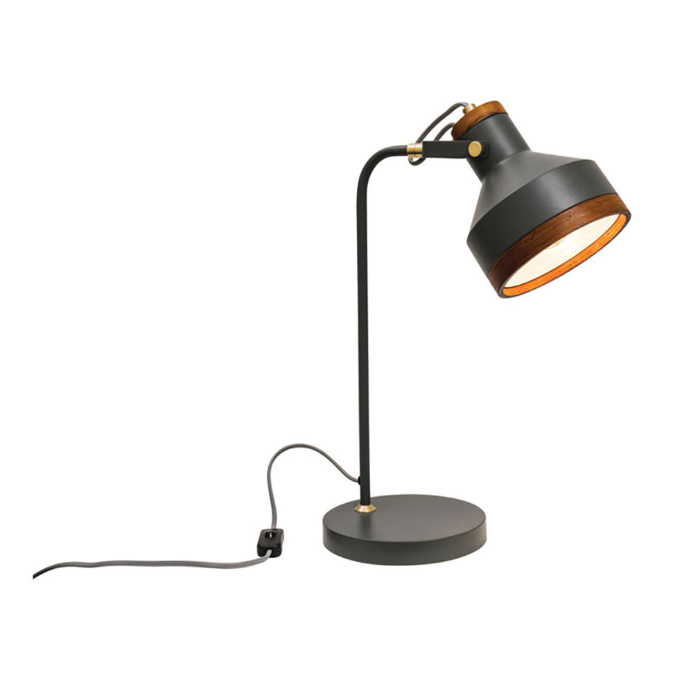 Clinton Dark Grey and Brushed Brass with Timber Modern Industrial 2 Light Table Lamp