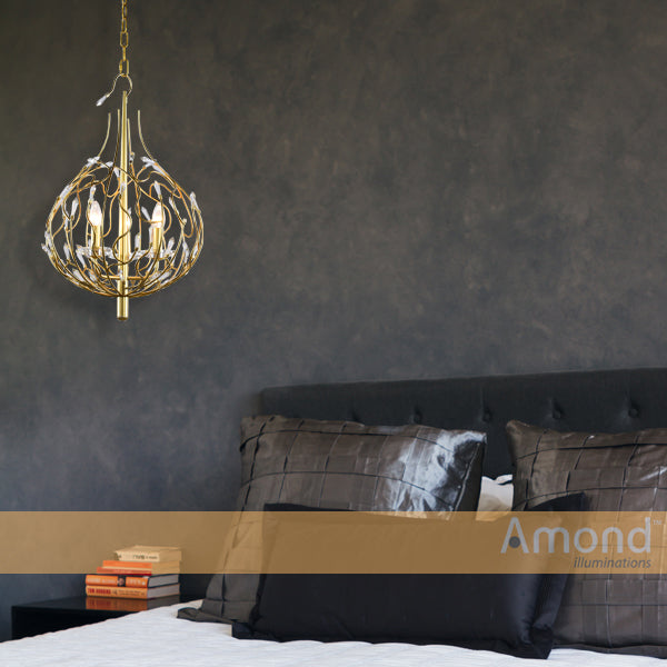 Tali 3 Light Brass and Crystal Curl Weave Cage Pendant by Amond