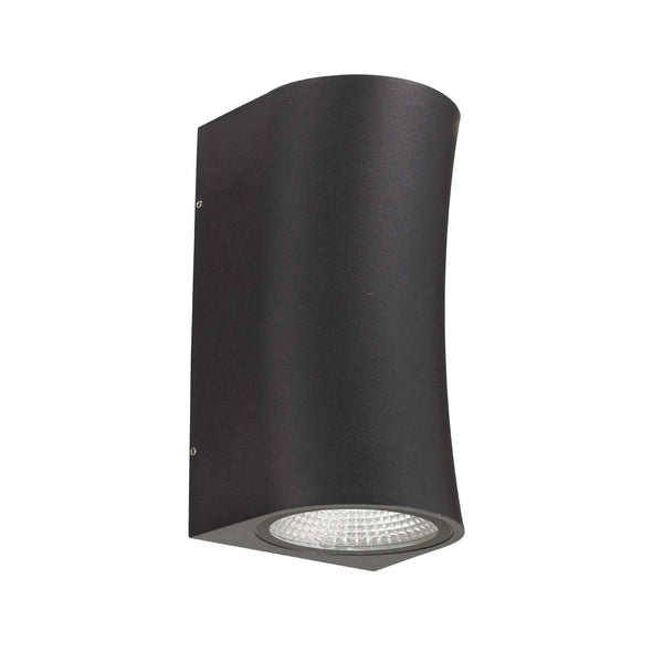 Vita Black Curved Hourglass Up/Down LED Exterior Wall Light
